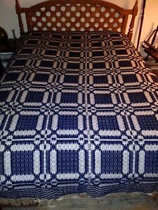 Early Coverlet Blue And White Sewen Two Piece 1800s