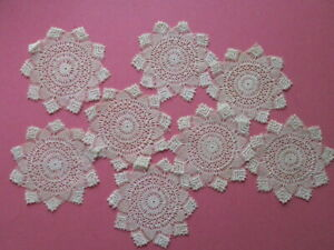 8 Lace Doilies Antique Tenerife Hairpin Drink Coasters Teacup Mats Small 4 Set