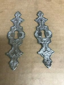 2 Vintage Mexico Silver Keyhole Covers Escutcheon T5