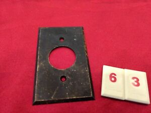 Vtg Brass Single Gang Single Hole Outlet Wall Plate Cover 10 18 R63 Jr