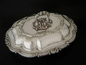 Fine Vintage Heavy 3 Pc Silver Plate Covered Entree Dish Sheffield Reproduction