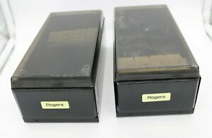 2x Vtg Rogers Business Card Index Files black Metal W Clear Lid