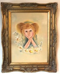 Vtg Frame Wood Picture Girl Oil Painting Ornate Bright Baroque Style Antique