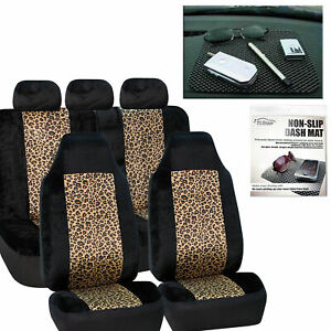 Car Seat Covers Brown Leopard Velour Luxury Free Gift Dash Grip Pad
