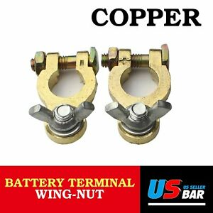 4x Vehical Car Rv Trailer Battery Terminal Clamp Clips Brass Connector Universal