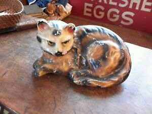 Antique Cat Chalkware Tabby Large Hollow Circa 1900 Lovely Colors 12