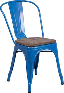Blue Metal Stackable Bistro Chair With Walnut Finish Wood Grain Seat