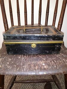 Early Metal Stenciled Black Painted Document Box
