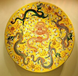 Antique Chinese Imperial Yellow 5 Claw Dragon Charger Plate 18