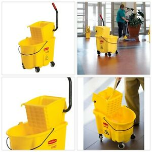 Utility Bucket Mop Container Cart Storage Steel Frame Plastic Durable Yellow