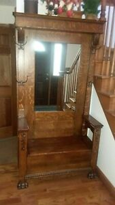 Large Antique Oak Mirrored Hall Tree Beautiful