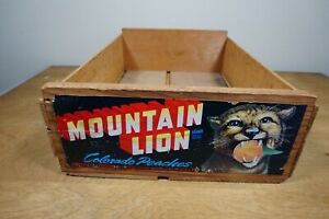 Vintage Wood Fruit Crate Box Mountain Lion Peaches With A Paper Label