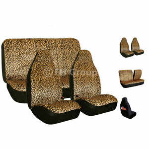 Car Seat Covers Brown Leopard Velour Luxury For Car Truck Suv