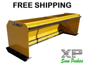 7 Xp30 Cat Yellow Snow Pusher W Pullback Bar Skid Steer Loader Free Shipping