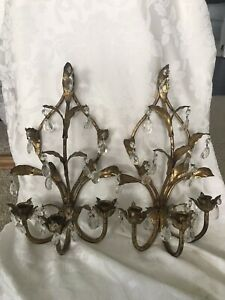 Vtg Pair Of French Gold Gilt Crystal Wall Sconces