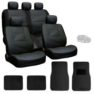 For Jeep New Premium Breathable Black Syn Leather Car Seat Covers Mats Set