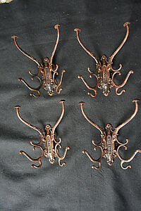 4 Large Fancy Antique Anodized Copper 19th Century Hall Stand Coat Hooks C 1870