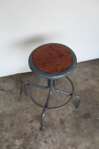 Vintage Industrial Drafting Stool Art Deco Swivel Adjustable Steampunk Antique