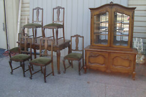 59882 Oak 8 Pc Dining Room Set China Table W 2 Leafs 6 Chair S