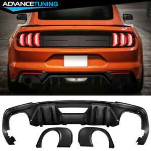 Fits 18 20 Mustang Ecoboost Rock Style Rear Diffuser Single Outlet Muffler Tip