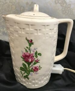 Vintage Lobeco Japan Floral Ceramic 4 Cup Electric Hot Water Heater With Label