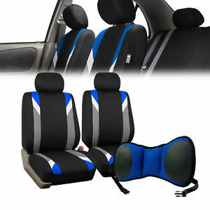 Car Front Bucket Seat Covers W Blue Seat Cushion Pad Combo Auto Car Suv Blue