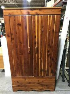 Vintage All Wood Cedar Closet Armoire Wardrobe Cabinet