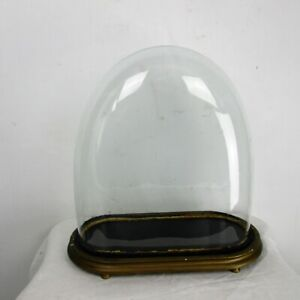 L Antique Victorian Oval Hand Blown Glass Globe Dome Clock Steampunk 18 3 X 16