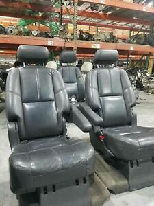 2008 Gmc Denali Yukon Xl Second Row Seat Set Oem Leather Black