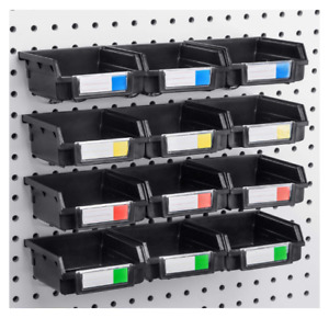 Pegboard Bins 12 Pack Black hooks To Any Peg Board organize Hardware Accessories