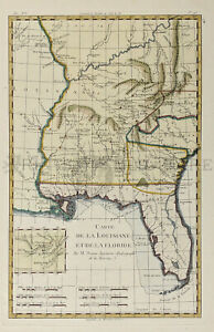Louisiana Florida And Carolina Southern Map 1780 Original