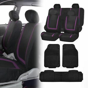 Black Purple Car Seat Covers With Black Heavy Duty Mats For Auto Car Suv