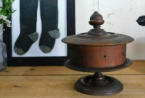 Turned Wood Spool Caddy Sewing Box Pin Cushion Acorn Finial Dated 1837
