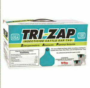 Y tex 1625003 Tri zap 100 Count Per Box Insecticide Fly Cattle Ear Tags Ranch Pa