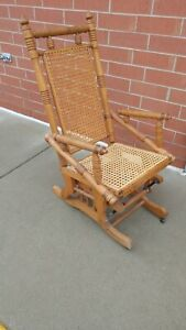 Antique Mechanical Cast Iron Hickory Wicker Rocking Chair 19th Century