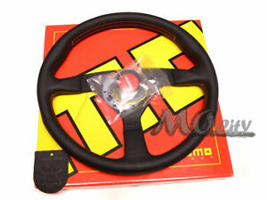 Momo 350mm Monte Carlo Steering Wheel Black Leather Red Stitch Mcl35bk3b