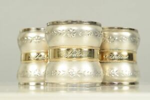 Trio Of Vintage Bright Cut Silver Plated Gilt Napkin Rings Bands Clips Skilton