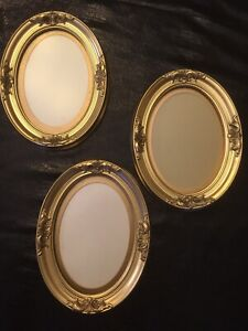 Wooden Antique Style Gold Ornate Oval Picture Wall Frames Home Or Office Cubicle
