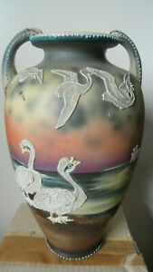 Early Nippon Vase Japanese Moriage Hand Painted 11 1 2 X 7 In Birds Ducks Old