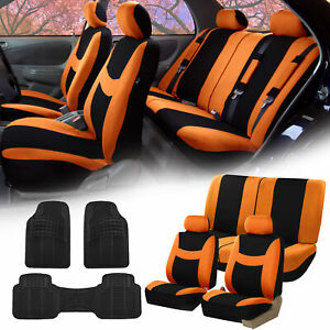 Orange Black Car Seat Covers Full Set For Auto W 2 Headrests Rubber Floo