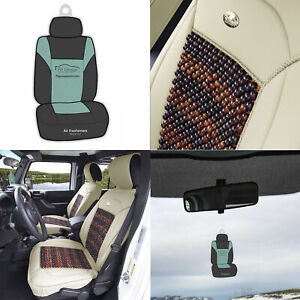 Beige Cooling Bead Leather Seat Covers For Auto Car Suv W Free Gift