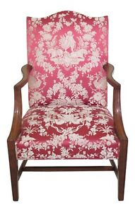 30623ec Quality Walnut Upholstered Open Arm Lolling Chair