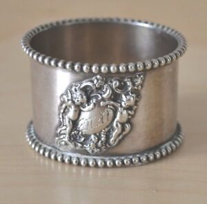 Cherub Beaded Sterling Silver Napkin Ring By Watrous