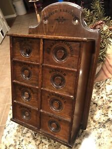 Vintage Apothecary Stenciled Spice 8 Carved Drawer Oak Wood Wall Cabinet Box