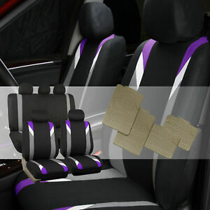 Car Seat Covers With Beige Rubber Floor Mat For Auto Car Purple