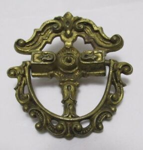 Vintage French Style 1 2 Ring Drawer Pull Handle H874 5 Fancy Pierced 1 Bolt