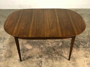 Walnut Mid Century Modern Dining Table With 2 Extensions Brasilia Style Legs