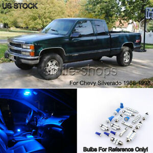 2 Map 1 Dome Blue Led Interior Light Fit 1988 1998 Chevy Silverado gmc Sierra