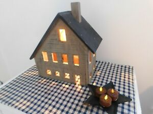 Primitive Wooden Electric Lighted Saltbox House Country Farmhouse Tan