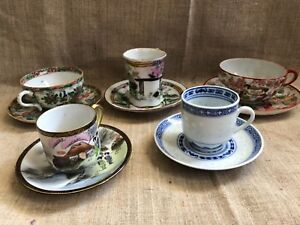 Lot 5 Cups And Saucers Oriental Sets Famille Rose China Japan Vintage